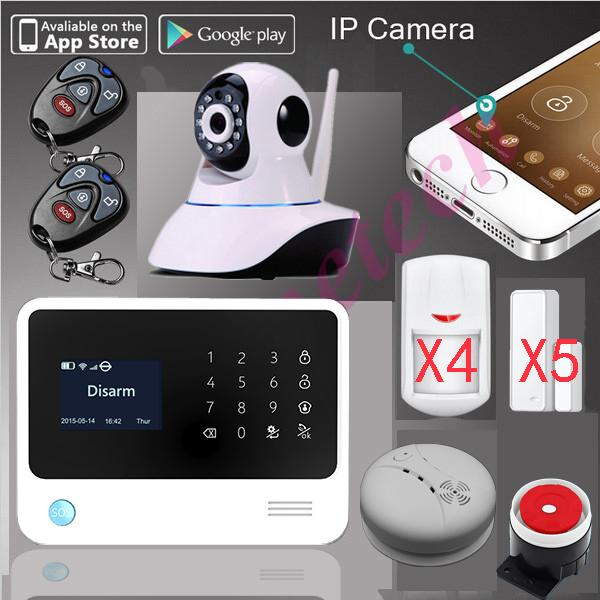 100% ursprüngliches G90B WiFi Alarm GPRS APK-APP kontrollierte Haussicherheit G- / Malarm-System + SMS-Warnungsunterstützung IP-Kamera + Feuer Rauch senser