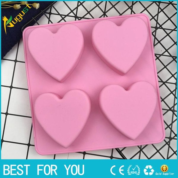 Yeni sıcak 4 Bile Aşk Şekli Silikon Kek Kalıpları, Çikolata Kalıp, Tomurcuklanma Kalıp, DIY Sabun Kalıp, Bakeware Aracı