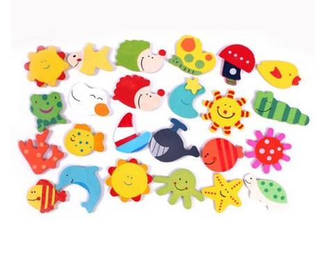top popular 960pcs lot Baby Wood Cartoon Fridge Magnet Gift Animal style Educational Pre-shool wooden toys magnetic stickers Fedex DHL ship 2021