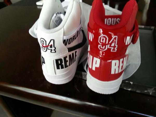 Acheter Version Originale 2,015 FW Célèbre SUPREME Sneakers AIR FORCE 1 Chaussures De Sport Chaussures De Basket Ball Noir Blanc Rouge De 5,5 À 13