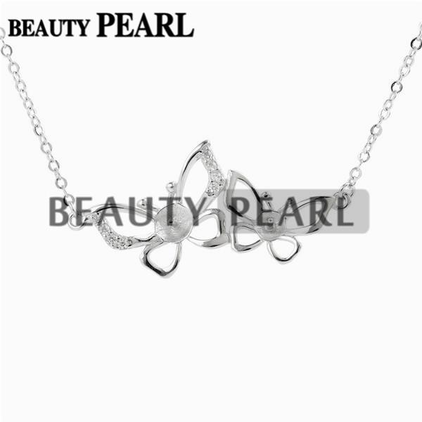 Necklace Blank for Pearls Two Butterfly 925 Sterling Silver Chain Base with 2 Blanks 5 Pieces