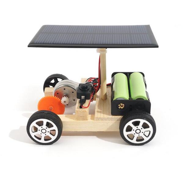 Toptan-DIY Güneş Elektrikli Araç Araba Ahşap Montaj ile Şarj Edilebilir Pil Bilim Modeli Eğitici Oyuncaklar Çocuklar Çocuklar için Hediye