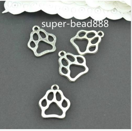 Free Ship 200pcs Antique Silver charms paw print charms pendants for DIY jewelry findings 13x11mm