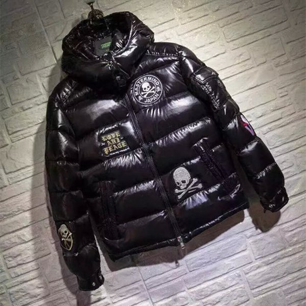 Mens Thicker 90% White Duck Down Coats with Skull Embroidery Black Winter Warm Outwear with Hooded Zipper Clothes Sale Free Shipping