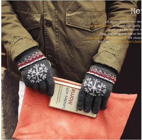 Wholesale-2015 autumn and winter men's double layer thicken thermal warm snow knitted gloves male winter knitted gloves 5 colors