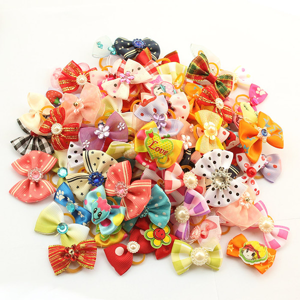 Most Cute!! Armi store Handmade Dog Bow Hair Little Flower Bows For Dogs 11021 Pet Grooming Accessories Products 50 Pcs/Lot