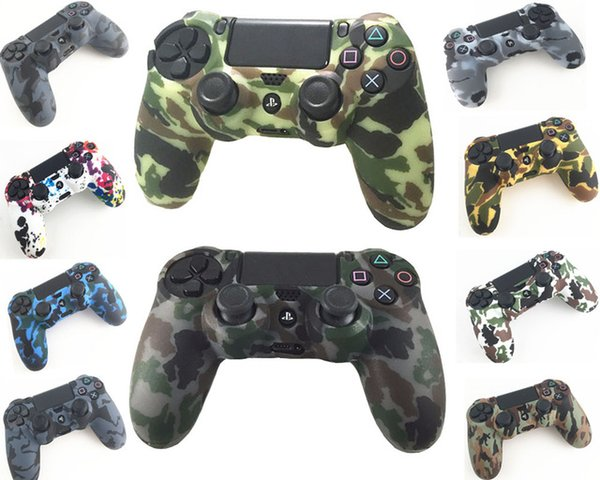 top popular Durable Camouflage Camo Silicone Gel Rubber Soft sleeve Skin Grip Cover Case For Playstation 4 PS4 Pro PS4 Slim Gamepad Protect 2019