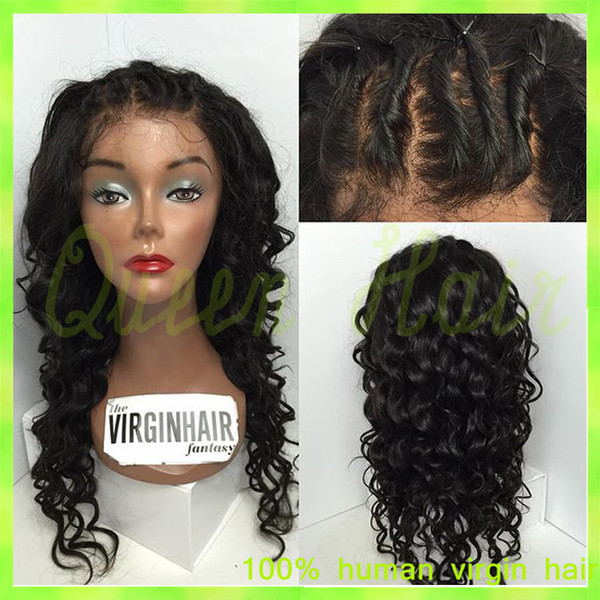 Full Lace Human hair wigs Virgin Brazilian Lace front wig Afro Kinky Curly glueless full lace wigs with babyhair for black women