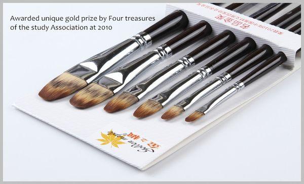 Wholesale-6pcs/lot Artists Brush on Drawing Multi-color Nylon Hair Acrylic Paint Brush Art Set articulos de papeleria pinceaux 207