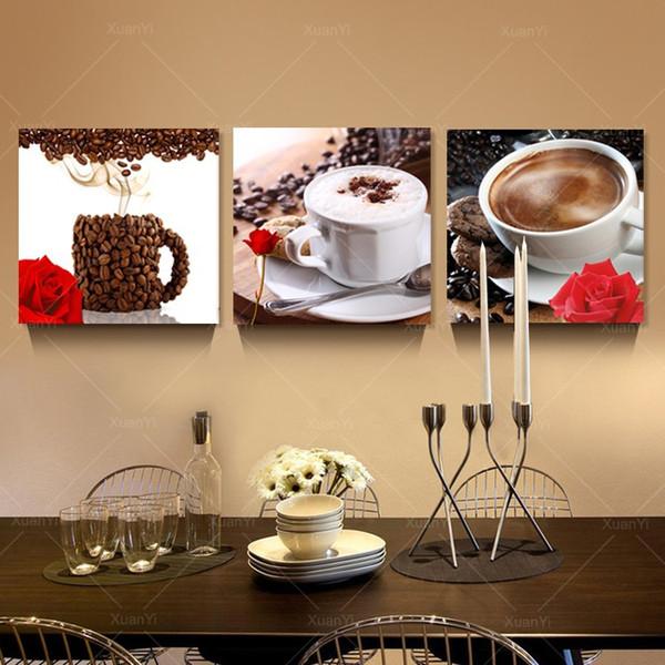 Großhandel 3 Panel Abstrakt Gedruckt Stillleben Kaffee Malerei Leinwand  Kunst Bild Dekoration Küche Gemälde Ungerahmt Kostenloser Versand Von ...