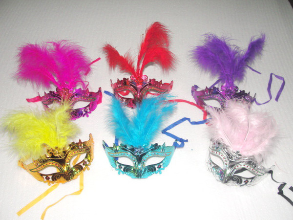 2016 Hot sales Gold powder painting With Feather Masquerade Masks Dance Mask Half Mask For Women Dance Party Mask 1000pcs/lot