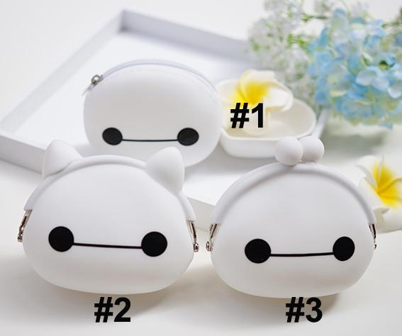 Hot Cute Baymax Mini Bags With Zipper White Cartoon Jelly Handbags Coin Purples Fashion Women Children Gift Silicon F074 5pcs