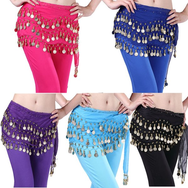top popular Chaming Fashion 128 Golden Coins Belly Dancing Hip Skirt Scarf Wrap Belt Costume Snow 2019