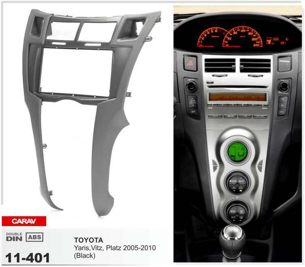 CARAV 11-401 Auto Radio Fascia für TOYOTA Yaris, Vitz, Platz 2005-2010 (Schwarz) Stereo Panel Facia Platte Dash Trim Kit