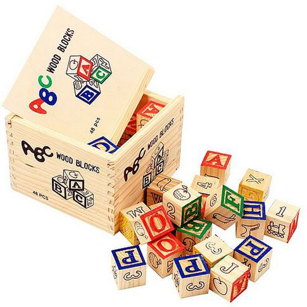 1 X 48PCS Alphabet Letter Educational Wooden ABC Blocks For Kids Childs Educational Game Puzzle Toy Learn Read Spell Free Shipping