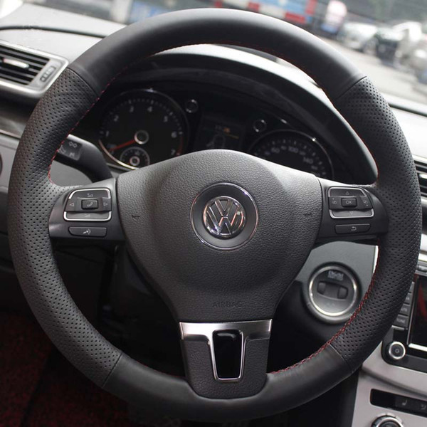 Case for Volkswagen VW Touran CC Golf 6 Passat Tiguan Lavida Genuine leather DIY Hand sewing wheel cover Car styling Steering wheel covers