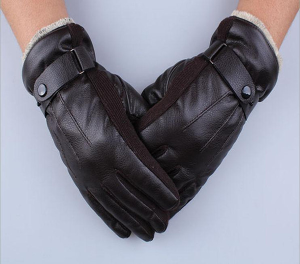 Wholesale-Men's Autumn&Winter Outdoor Waterproof Windprooof Warm Thick Cotton Korean PU Leather Full Finger Gloves