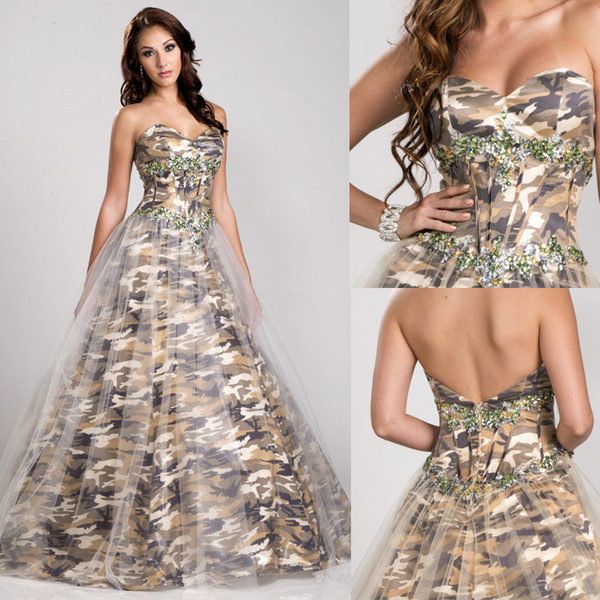 Discount 2016 Camo Wedding Dresses Bridal Gowns Sweetheart Gold ...