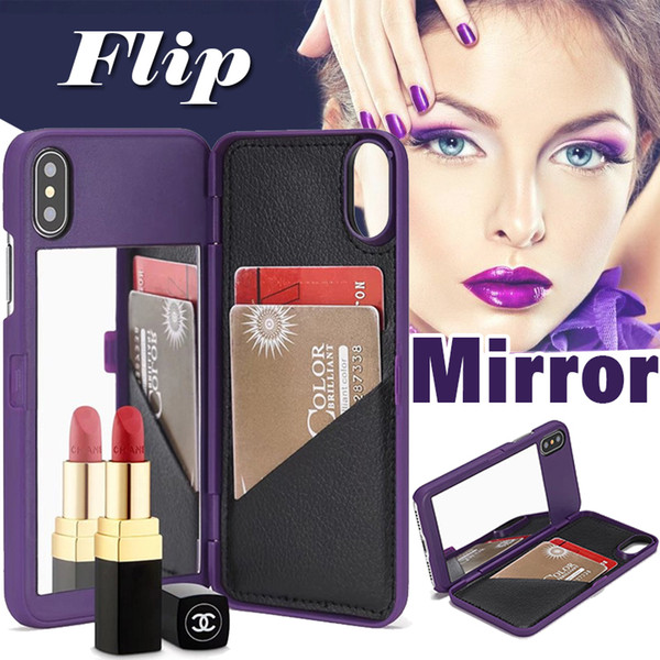Funda billetera Lady Girl Maquillaje Espejo Impermeable Híbrido Duro Plástico con titular de la tarjeta Cubierta de cuero delgada para iPhone XS Max XR X 8 7 6 6S Plus