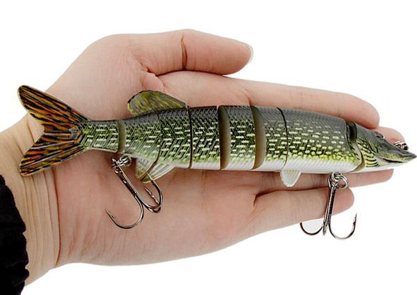 Hard Fishing Bait Treble Hook Fishing 20cm 66g Lifelike Pike Muskie Fishing Lure 8-segement Swimbait Crankbait Pesca