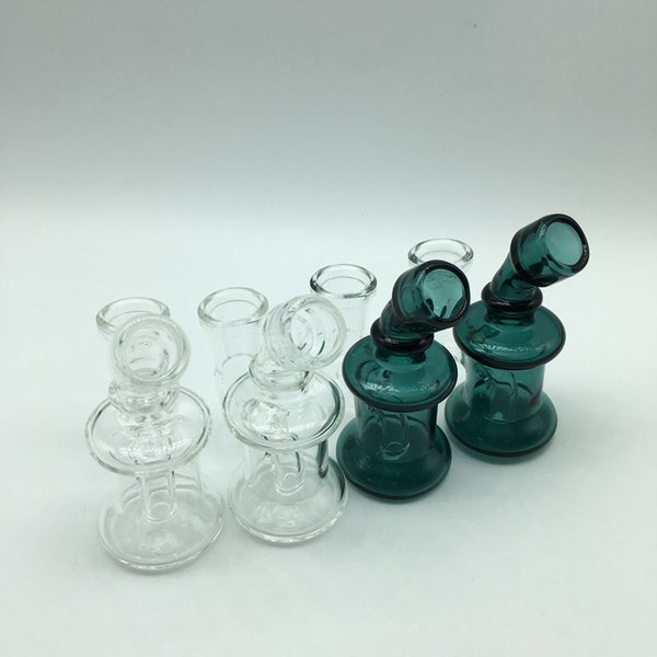 Wholesale Mini Glass Bongs Dab Rigs With 14mm Female Joint Clear Green 3.3 Inch Cheap Small Recycler Water Pipes Glass Oil Rigs
