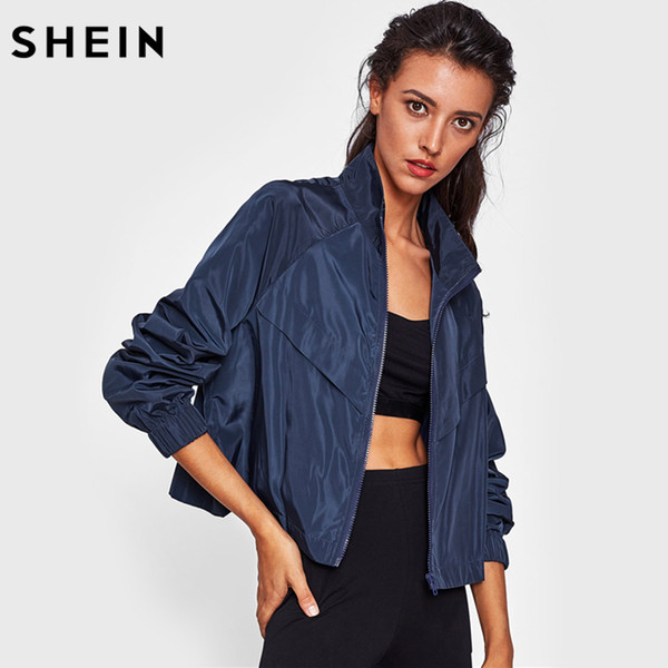 8c51dd0fa0 SHEIN Raglan Sleeve Windbreaker Jacket Navy Stand Collar Long Sleeve Autumn  Jacket for Women Casual Womens