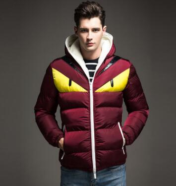 New Fashion Pure Color Cartoon Printing Man's Parkas Cotton Padded Jacket In Winter Keep Warm