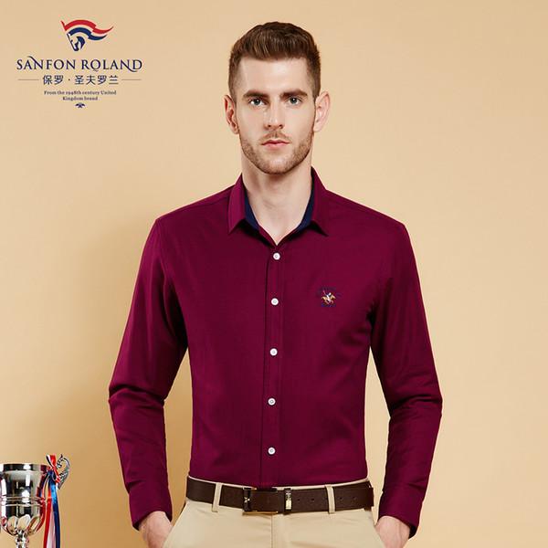 2018 primavera / otoño abotonan para hombre de moda Regular Fit hombre camisas de manga larga hombres 100% algodón gruesa sólido vestido de hombres camisa de negocios 177047