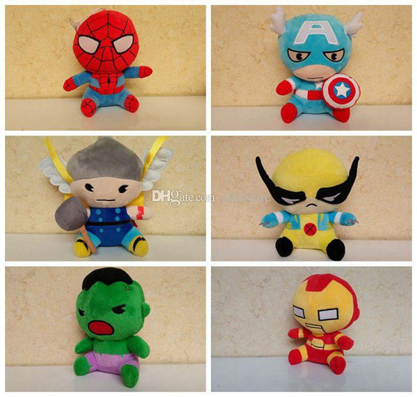 2015 Avengers 2 Stuffed Animals Plush Toys Iron Man Spiderman American Captain Hawkeye Thor Hulk 6 styles Doll For Children Boy Gift