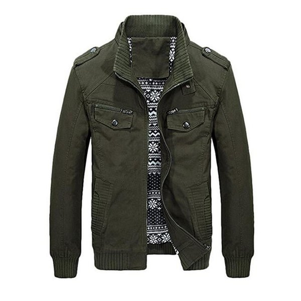 Men fashion 2018 Long Sleeved Stand Collar Cotton Jacket with Shoulder Straps Casual Coat