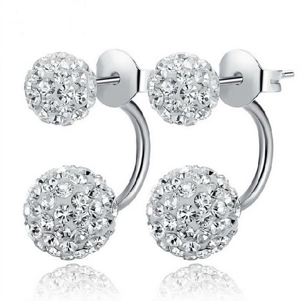 جديد 925 الفضة الأبيض Shambala الماس الكرة الروديوم أقراط الزر