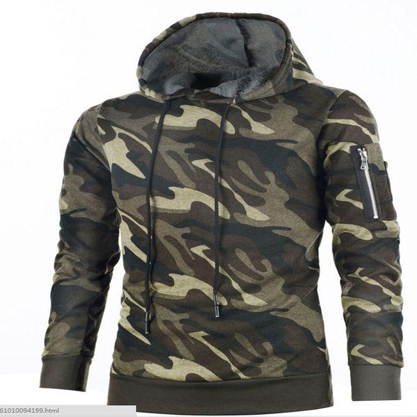 2018 novo outono e inverno com capuz camisola moda camuflagem com capuz dos homens casuais conjuntos de auto-cultivo de suéter de cashmere Quente