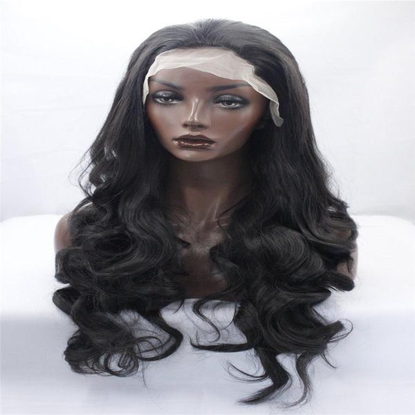 kabell Fashion wig lace front wigs 26-inch full-head wavy 1# natural color fake African American fashion wig kabell wigs Big wave hairstyle