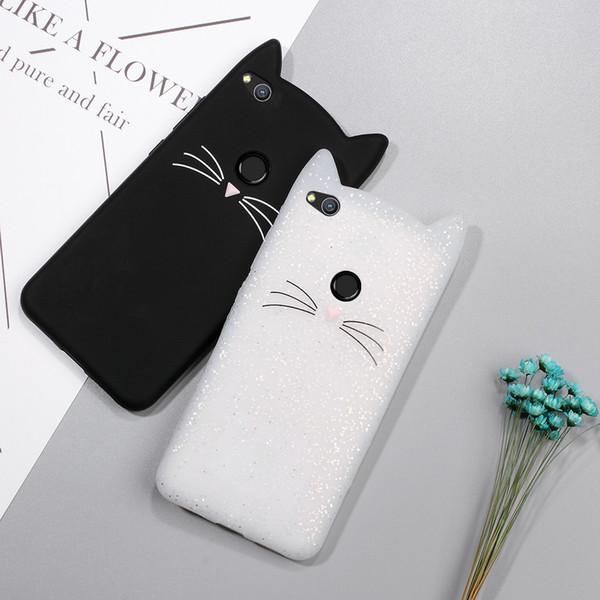 Vente en gros-Housse pour Huawei P8 Lite (2017) Cas Mignon 3D Moustache Cat Soft Silicone Mobile Case pour Huawei P8 Lite 2017 / Honor 8 Lite Couverture
