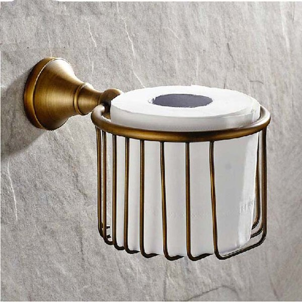 Free Shipping Wholesale And Retail NEW Antique Brass Bathroom Wall Mounted Toilet Paper Holder Tissue Basket Holder
