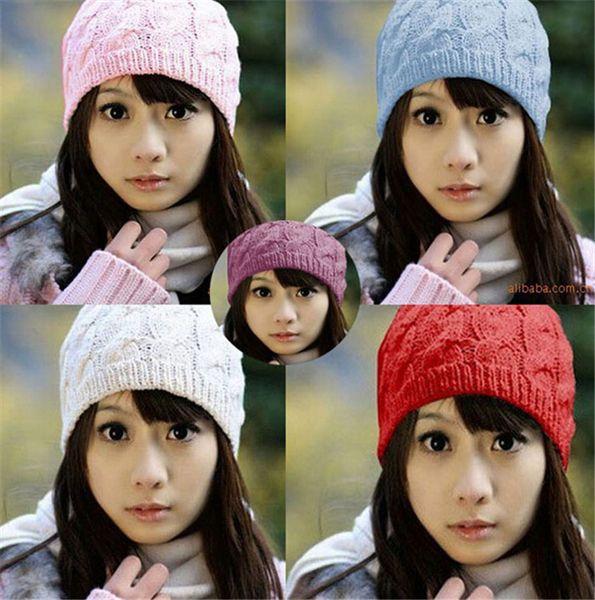 400pcs HOT sale warm hat Women Knit Winter Warm Crochet Hat Braided Baggy Beret Beanie Cap D471