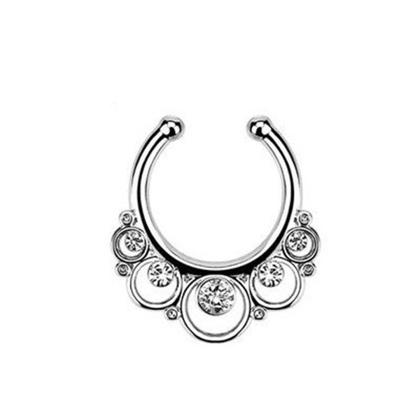 1pcs Christmas punk taboo gold none piercing fake septum nose ring clip silver indian fake crystal nose stud Free shipping N0009