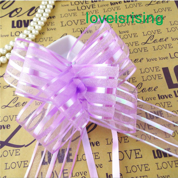 Tracking Number--50pcs/lot 5cm Large Size lavender Organza Pull Bows For Wedding Car Decor Wedding Organza Pull Flower Ribbons Gift Wrap