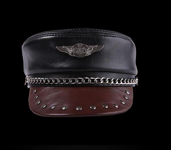 1aa700d9 Handmade Genuine Leather Military Hats Men And Women Cowhide Flat Cap  Motorcycle Cap Chain Badge Black