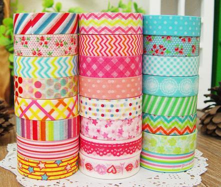 Nuovo! (24pcs / scatola) nastro adesivo di washi del fumetto dei punti del fiore, nastri adesivi di carta Giappone decorativo della decorazione - all'ingrosso