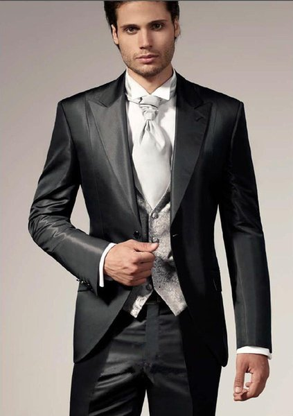 Customized 2015 Famous Designer Charcoal Vintage Groom Tuxedos Slim Fit Party Suit Groomsman Suit Jacket+Pants+Tie+Vest
