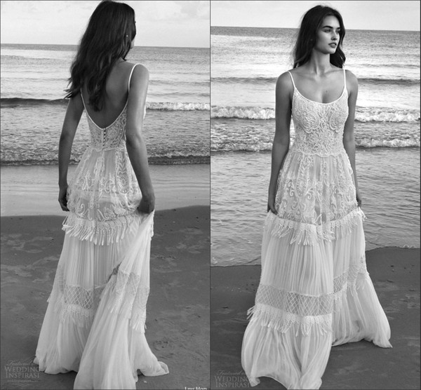 2019 Lilo Sleeveless Bohemian Lihi Hod Bridal Wedding Dresses Amazing Details Spaghetti Backless Beach Wedding Gowns Custom Make