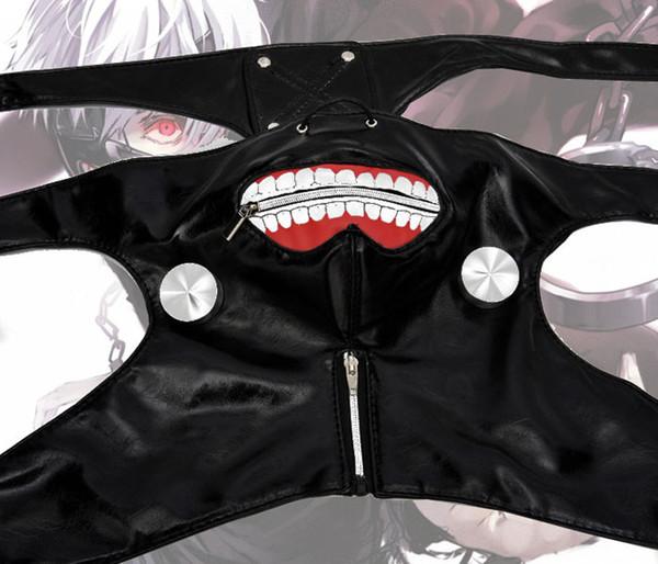 Hot sale Cosplay Masks Tokyo Ghoul Kaneki Ken Adjustable Zipper Faux PU Leather party Mask Free Shipping