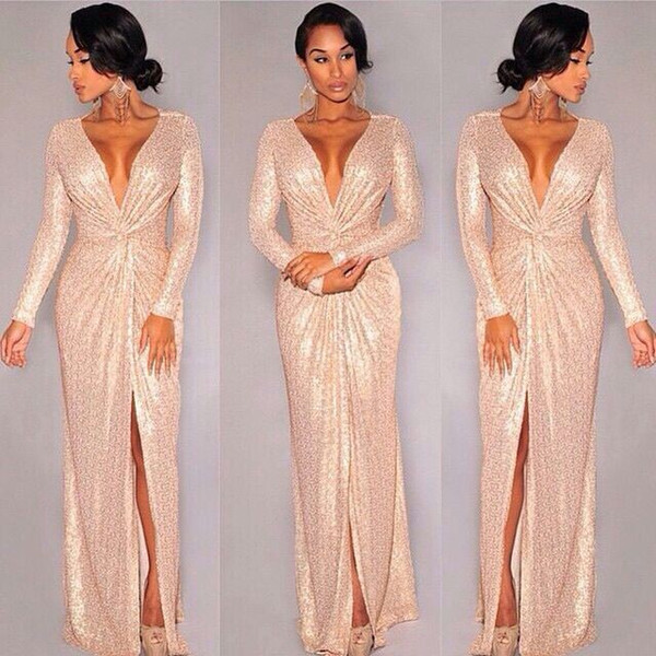 2016 New rose gold Long Sleeve Sequins Deep V-neck Slit Prom Dresses cheap custom make full length special occasion gown
