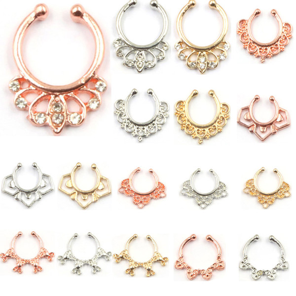 10pcs mixed crystal faux septum ring nose hoop alloy gold and silver clip on fake nose ring piercing for women N0037