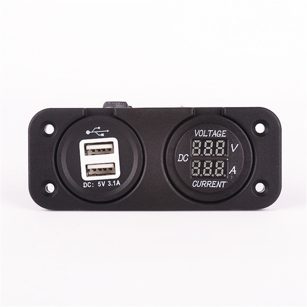 car 5V 3.1A USB power charge socket + DC voltage current meter 2in1 |Auto mobile phone charger