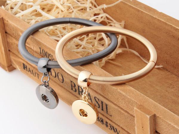 NOOSA DIY Elastic Chain Bracelet Simple Design Gold Silver Plated Snap Button Bracelet Interchangable Snap Button Charm Jewelry