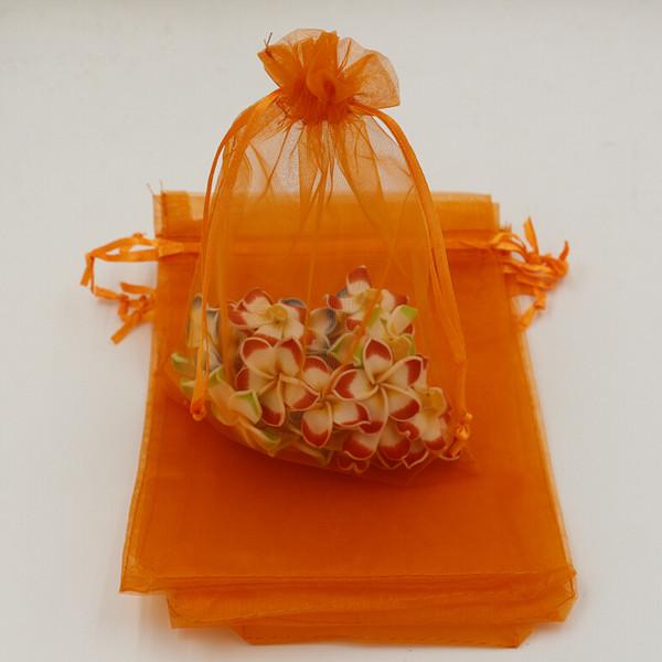 top popular MIC orange With Drawstring Organza Gift Bags 7x9cm 9x11cm 13x18cm ( 332) 2020