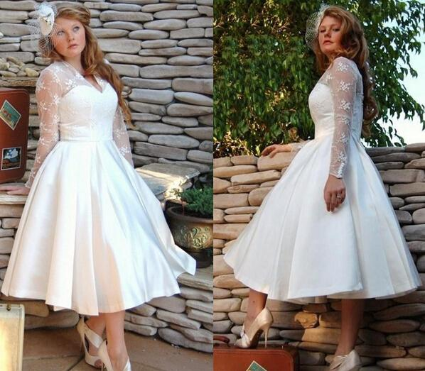 Plus Size Tea Length Wedding Dresses 2015 Sheer Long Sleeves A Line Short Bridal Dresses Stain Lace Appliques Wedding Gowns Covered Buttons
