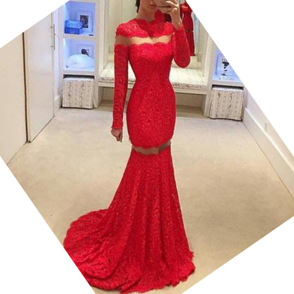 Elegant Arabic Evening Dresses Jewel Neck Long Sleeve Red Lace Mermaid Evening Gown Prom Party Dress with Sweep Train Sheer Cut Out Design